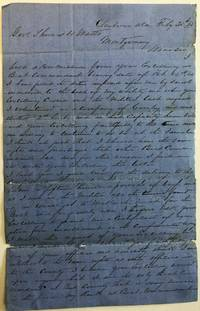 AUTOGRAPH LETTER SIGNED, FROM CLAIBORNE ALABAMA, 21 FEBRUARY 1865, TO GOVERNOR THOMAS WATTS, SEEKING ADVANCEMENT IN THE ARMY AS A BEAT COMMANDANT