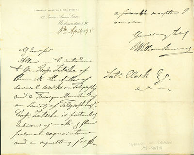 1875. Very Good. Siemens, Charles William (1823-83). Autograph letter signed to Latimer Clark. Londo...