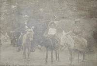 Seven Falls South Cheyenne Cañon, Colo. [sepia photograph of three people on burros]