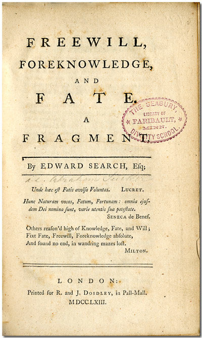FREEWILL, FOREKNOWLEDGE, AND FATE. A...