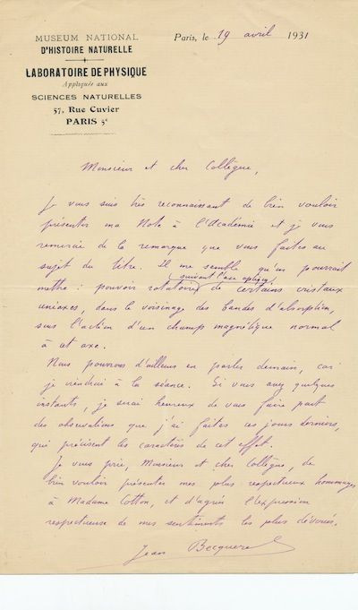 He likely writes to fellow physicist, Aimé Auguste Cotton (1869-1951) and sends regards to his wife...