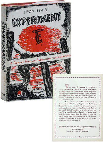 New York: Didier Publishers, 1945. First Edition. Memoir of the author's detention at Sachsenhausen,...