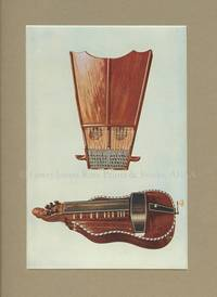 Bell Harp and Hurdy-Gurdy. Original Chromolithograph. Musical Instruments; Historic, Rare and Unique