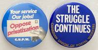 image of [Two pinback buttons from the Canadian Union of Postal Workers]
