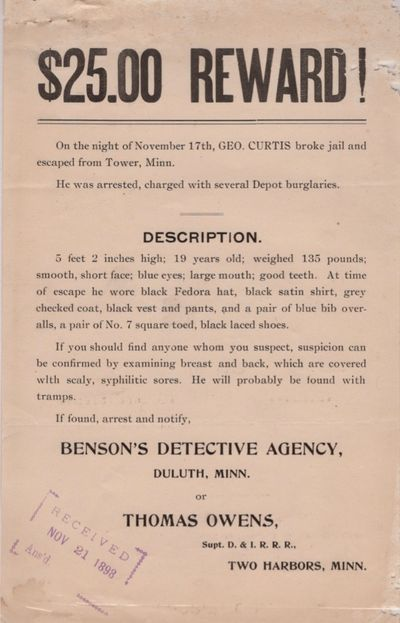 Duluth: Benson's Detective Agency; Thomas Owens, 1898. Broadside. Good. Broadside. Approx. 9.5
