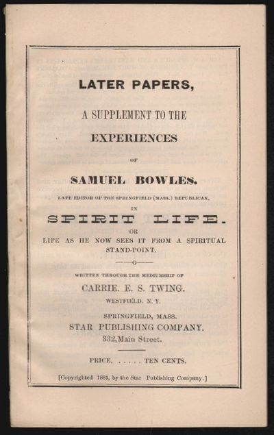 Springfield, Mass: Star Publishing Co, 1883. 4.5 x 7.5 inches, sewn wrappers. pp. 65-91, (publisher'...