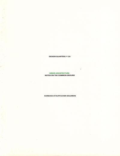 Minneapolis: Walker Art Center, 1982. Paperback. Very good. 32pp. Wraps a bit tanned, else very good...