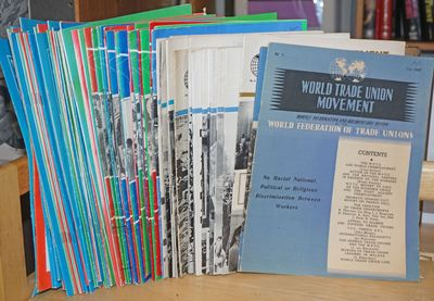 London, Prague: World Federation of Trade Unions. Seventy six issues, various pagination, 8x11.5 inc...