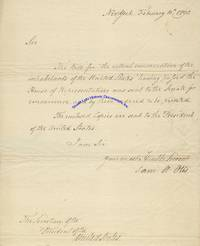 Samuel Otis Notifies Tobias Lear, President Washington's Secretary, Of The Passage Of The Bill For The Nation's First Census