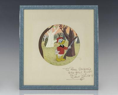 Rare original Walt Disney Studios production drawing of Donald Duck posing as a hunter. Inscribed by...