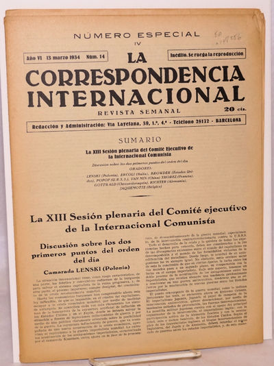 Barcelona: , 1934. 36p., 8.25x11.25 inch newspaper, some pencil underlining, wraps evenly browned el...