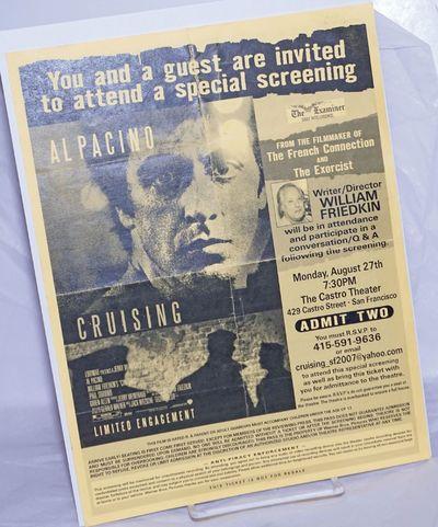 San Francisco: Castro Theatre, 2007. Single 8.5x11 inch handbill/ticket printed both sides, vertical...