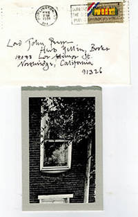 Photograph on folded letter to Herb Yellin of Lord John Press by the son of the writer John Gardner by  Joel (born 1959) Gardner - from Alan Wofsy Fine Arts (SKU: 51-2231)