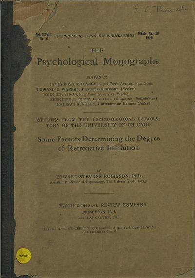 Princeton: Psychological Review Co., 1920. First edition. Quarter cloth over paper covered boards. A...