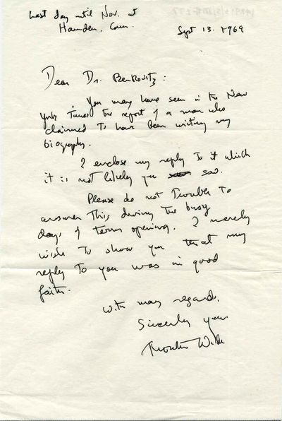 Chicago, IL: Not published, 1969. Letter. Very good+ condition. Unbound. Signed by Author(s). First ...