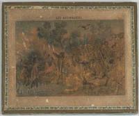 """image of Children's geographical strip puzzle, with 'Les Australiens', ''Les Indous"""", 'Les Hottentots et Bushmans', and 'Les Arabes'"""