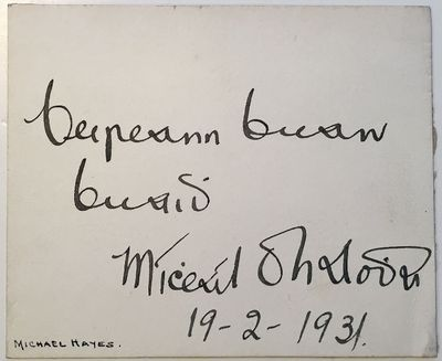 1931. unbound. 3.5 x 4.25 inches, written in Gaelic (not translated), sending best regards, February...