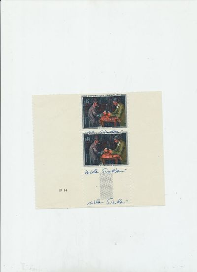 The stamps each show the same painting of Italian artist Simbari. Nicola Simbari signed three times ...