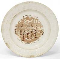 [Porcelain Plate]: American Sports: Base Ball. Running to First Base