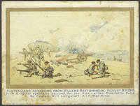 image of Australians Advancing from Villers-Bretonneux, August 8th 1918.  From Original specially painted for the Australian Comforts Fund.  By Captain Will Longstaff.  A.I.F. War Artist