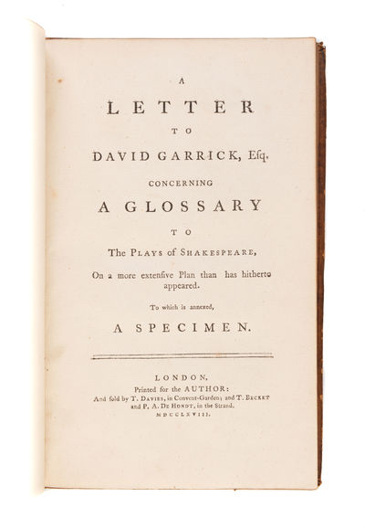 HARD WORDS IN SHAKESPEARE - A Letter...