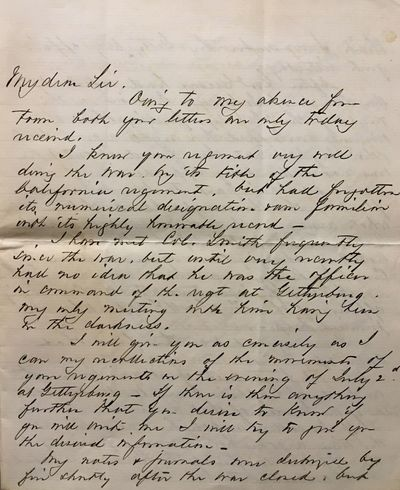 A first-hand account of the significant fight on Culp's Hill from the Battle of Gettysburg, unsigned...
