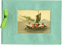 Chinese embossed Christmas card, with cut stamp montage on a watercolor landscape