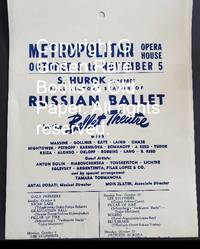 image of Metropolitan Opera House October 8 to November 5 S. Hurok Presents Fall Victory Season of Russian Ballet by the Ballet Theatre with Massine, Gollner, Kaye, Laing, Chase, Hightower, Petroff, Karnilova, Romanoff, J. Reed, Tudor, Kriza, Alonso, Orloff, Robbins, Lang, R. Reed.