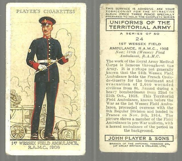 VINTAGE PLAYER'S CIGARETTE CARD WITH 1ST WESSEX FIELD AMBULANCE, Christmas