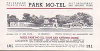 image of Vintage Illustrated Advertising Brochure Park Motel, San Antonio Texas