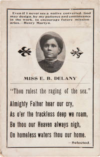 [PICTORIAL POSTCARD PROMOTING AFRICAN- AMERICAN MISSIONARY EMMA BEARD DELANEY, FILLED OUT BY DELANEY AND SENT TO HER FRIEND, LAURENCE JEFFERSON, WHILE SHE WAS AT SEA ON A VOYAGE TO LIBERIA