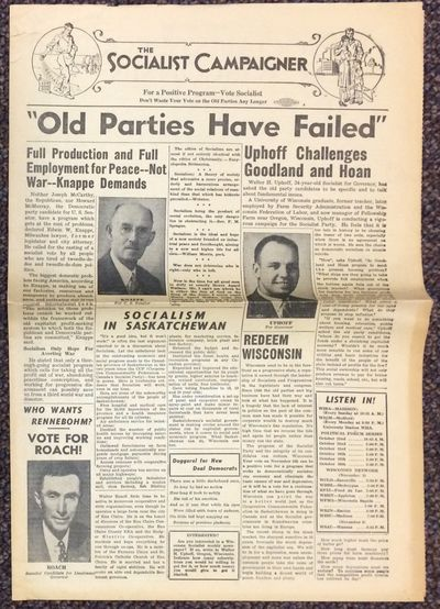 Madison: Wisconsin Socialist Campaign Committee, 1946. Four pages, tabloid newspaper format, horizon...