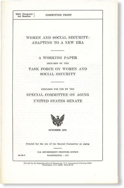 Washington DC: U.S. Government Printing Office, 1975. First Edition. Octavo (23cm.); staplebound sel...