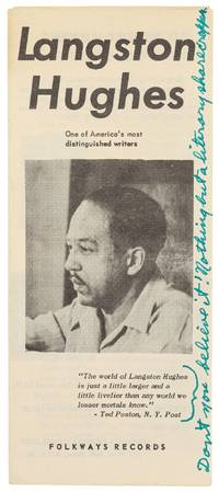 image of [Promotional Brochure]: Langston Hughes: One of America's Most Distinguished Writers