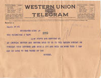 image of An Original 1924 Telegram and Pictures to Mrs. Walbridge S. Taft from Her  Mother