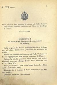 che aggrega il comune di Vallo Torinese alla sezione elettorale autonoma di Fiano del 2° collegio di Torino.