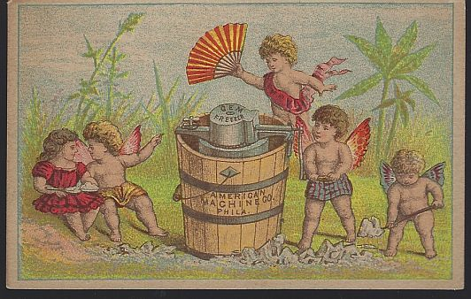 VICTORIAN TRADE CARD FOR GEM ICE CREAM FREEZER WITH CHERUBS, Advertisement
