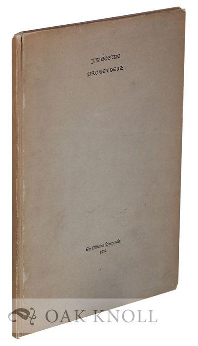 Berlin, Germany: Officina Serpentis, 1922. cloth, top edge cut, other edges uncut. Officina Serpenti...