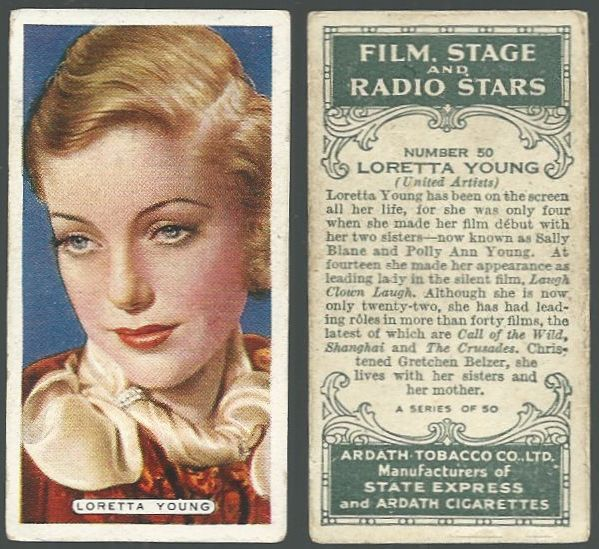 VINTAGE ARDATH CIGARETTE CARD WITH LORETTA YOUNG, Advertisement
