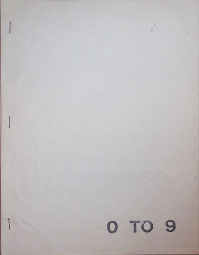 New York: 0 To 9, 1969. First edition. Paperback. Very Good +. Tall, side -stapled wrappers. The fif...