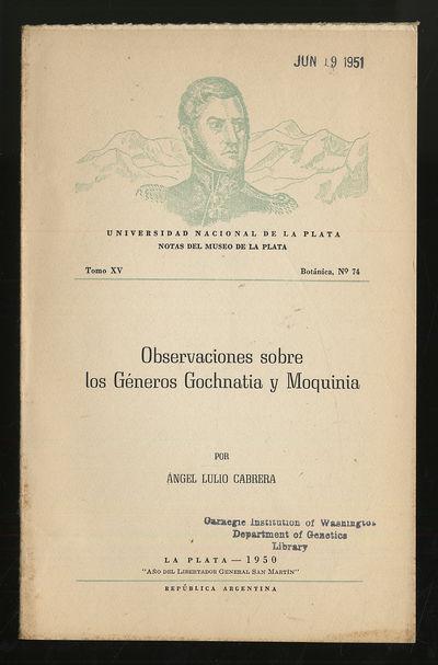 La Plata, Argentina: Museo De La Plata, 1950. Softcover. Very Good. First edition. Tomo XV, Botanica...