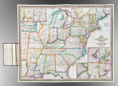 Philadelphia: S. Augustus Mitchell, 1833. Engraved folding map, period hand-colouring in outline. Ni...