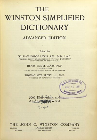 THE WINSTON SIMPLIFIED DICTIONARY. Three different models ...