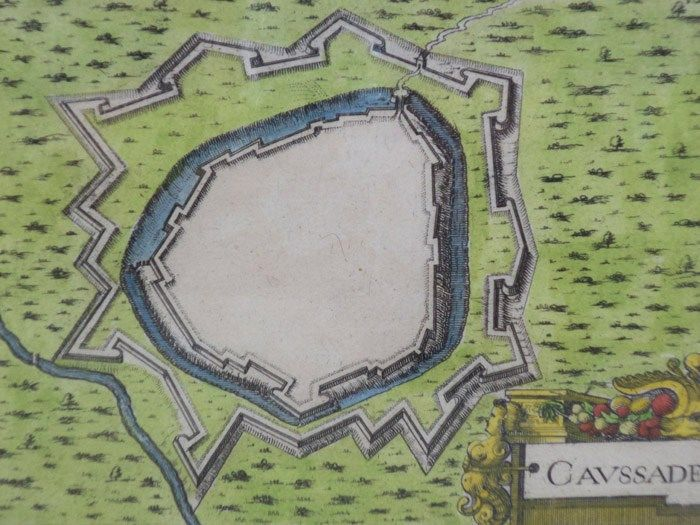 Hand colored 1636 print map of caussade from 39 les plans for Plan caussade