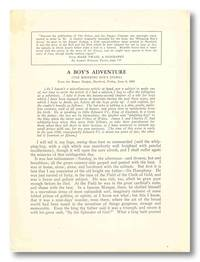 A BOY'S ADVENTURE [THE WHIPPING BOY'S STORY] [caption title] by [Clemens, Samuel L.]: Twain, Mark [pseud] - 1928