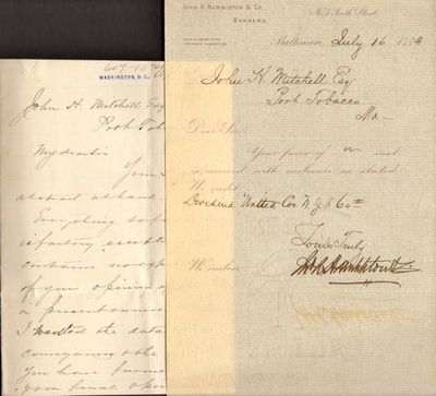 Maryland. Archive. Very good. Archive. Notebook folder of 90+ paper items from the late nineteenth c...