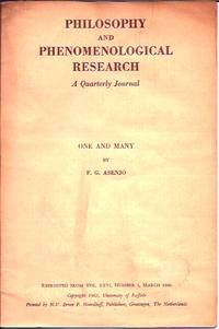 One and Many__Philosophy and Phenomenological Research, A Quarterly Journal__Vol. XXVI by  F.G Asenjo - Paperback - Pamphlet - 1966 - from San Francisco Book Company (SKU: P19557)