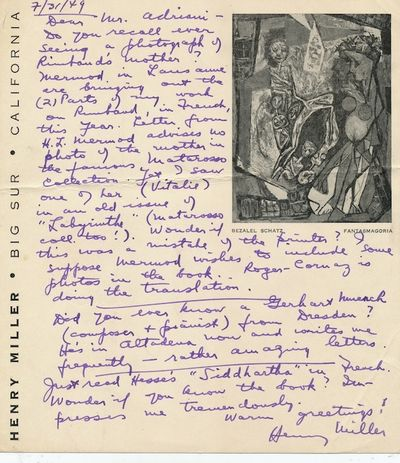 To Bruno Adriani, Miller mentions French author Arthur Rimbaud and Hermann Hesse's classic,