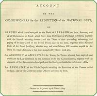 Account of the commissioners for the reduction of the national debt, of all sums which have been paid to the Bank of Ireland on their account, and of all debentures or stock which have been redeemed or purchased by them.