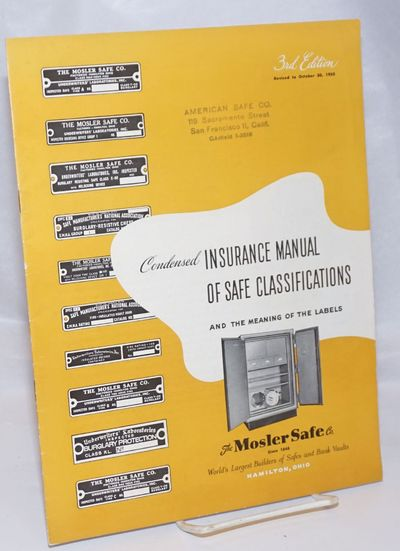New York / Hamilton OH: The Mosler Safe Co, 1950. Pamphlet. 6th printing of this 3rd edition: 16p., ...